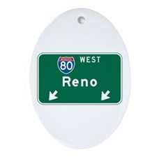 Reno, NV Highway Sign Oval Ornament