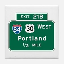 Portland, OR Highway Sign Tile Coaster