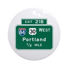 Portland, OR Highway Sign Ornament (Round)
