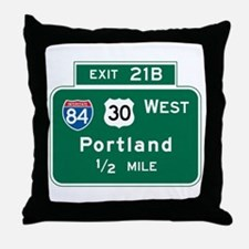 Portland, OR Highway Sign Throw Pillow