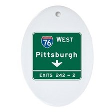 Pittsburgh, PA Highway Sign Oval Ornament