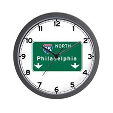 Philadelphia, PA Highway Sign Wall Clock