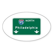 Philadelphia, PA Highway Sign Oval Decal