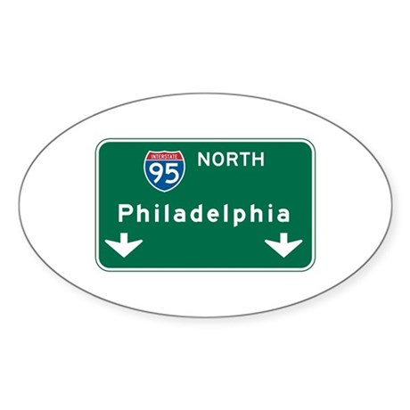 Philadelphia, PA Highway Sign Oval Sticker