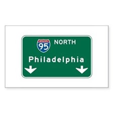 Philadelphia, PA Highway Sign Rectangle Decal