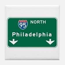 Philadelphia, PA Highway Sign Tile Coaster