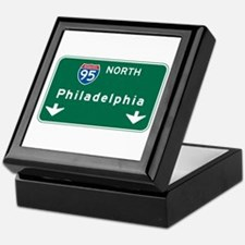 Philadelphia, PA Highway Sign Keepsake Box