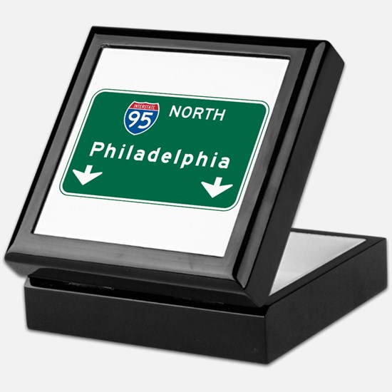Philadelphia, PA Highway Sign Keepsake Box