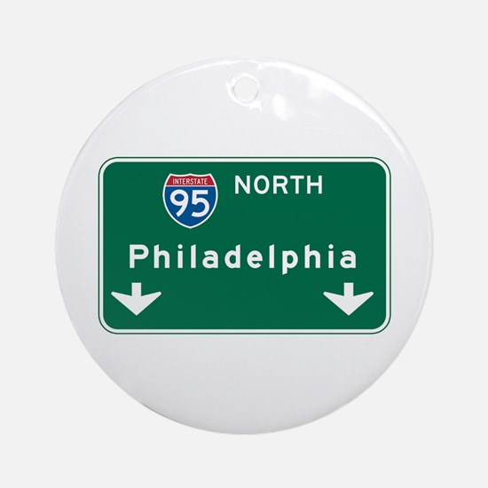 Philadelphia, PA Highway Sign Ornament (Round)