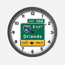 Orlando, FL Highway Sign Wall Clock