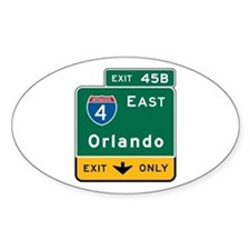 Orlando, FL Highway Sign Oval Decal
