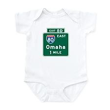 Omaha, NE Highway Sign Infant Bodysuit