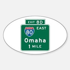 Omaha, NE Highway Sign Oval Decal