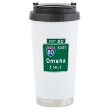Omaha, NE Highway Sign Travel Mug