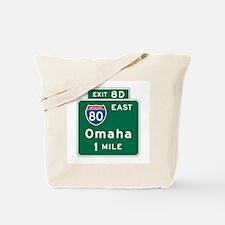 Omaha, NE Highway Sign Tote Bag