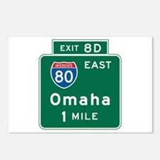 Omaha, NE Highway Sign Postcards (Package of 8)