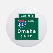 Omaha, NE Highway Sign Ornament (Round)