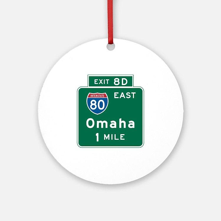 Omaha, NE Highway Sign Ornament (Round)