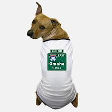 Omaha, NE Highway Sign Dog T-Shirt