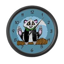 Jumping Panda Bear Large Wall Clock