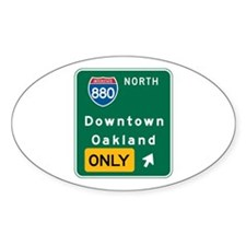 Oakland, CA Highway Sign Oval Decal