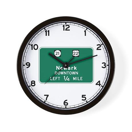 Newark, NJ Highway Sign Wall Clock