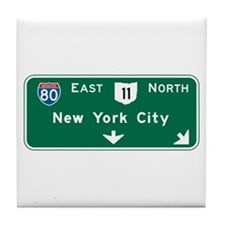 New York, NY Highway Sign Tile Coaster