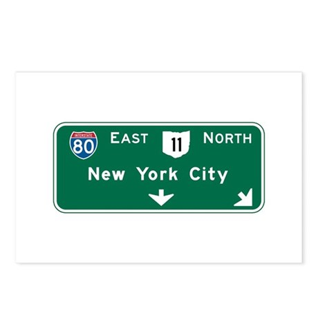 New York, NY Highway Sign Postcards (Package of 8)