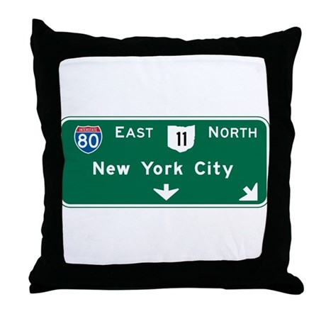 New York, NY Highway Sign Throw Pillow