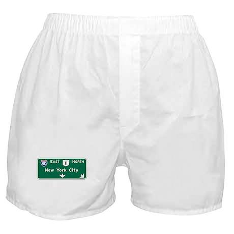 New York, NY Highway Sign Boxer Shorts