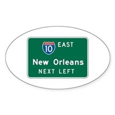 New Orleans, LA Highway Sign Oval Decal