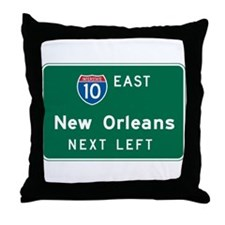 New Orleans, LA Highway Sign Throw Pillow