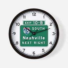 Nashville, TN Highway Sign Wall Clock