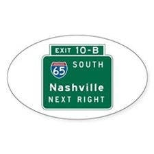 Nashville, TN Highway Sign Oval Decal