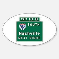 Nashville, TN Highway Sign Oval Decal