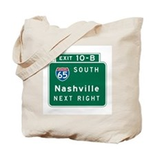 Nashville, TN Highway Sign Tote Bag