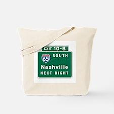 Nashville, TN Highway Sign Tote Bag