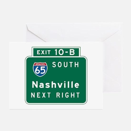 Nashville, TN Highway Sign Greeting Cards (Pk of 1