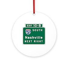 Nashville, TN Highway Sign Ornament (Round)