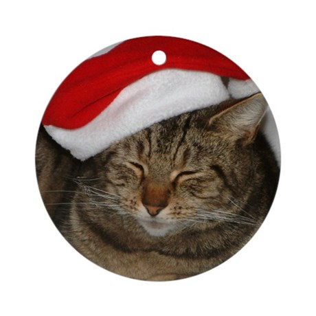 Christmas Cat Ornament (Round)