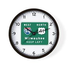 Milwaukee, WI Highway Sign Wall Clock