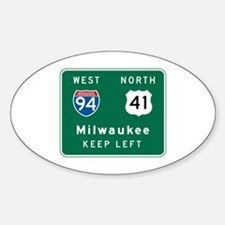 Milwaukee, WI Highway Sign Oval Decal