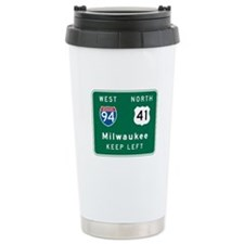 Milwaukee, WI Highway Sign Travel Mug