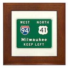 Milwaukee, WI Highway Sign Framed Tile