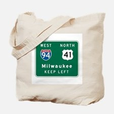 Milwaukee, WI Highway Sign Tote Bag