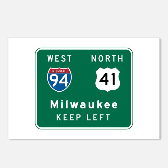Milwaukee, WI Highway Sign Postcards (Package of 8