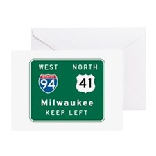 Milwaukee, WI Highway Sign Greeting Cards (Pk of 1