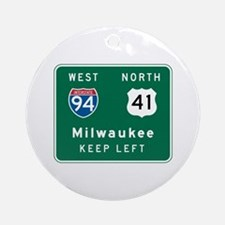Milwaukee, WI Highway Sign Ornament (Round)