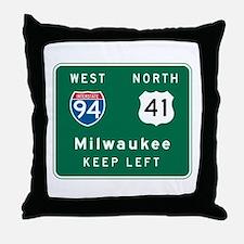Milwaukee, WI Highway Sign Throw Pillow