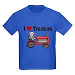 I Love Tractors Kids Dark T-Shirt